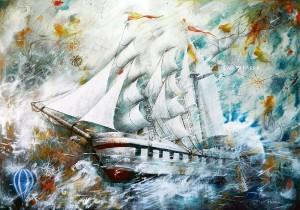 Ricardo Parra La nave que se abre camino hacia los vastos cielos encantados.
