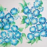 Vera LOwen Fiori azzurri su seta