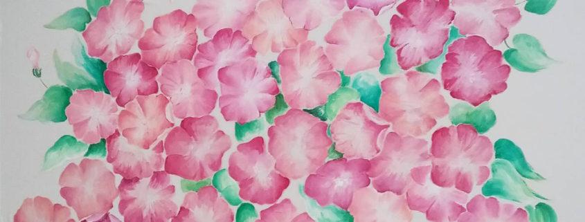 Vera Lowen  Fiori rosa su seta 91x68