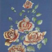 Vera Lowen Rose su seta azzurra 42x61